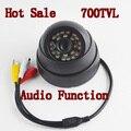 Nova chegada! Alta resolução 700TVL Color CMOS Indoor IR Dome CCTV câmera com áudio função frete grátis