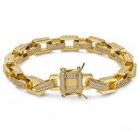 Box Chain Bracelet For Men Hip Hop Bling Iced Out Prong Setting Micro CZ Bracelets Luxury Rapper Bracelet Jewelry