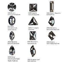 Crystal Black Diamond K9 Sew on Mirror Strass Rivoli Drop Square Cosmic Rhinestones DIY Dress Design Garment Accessories