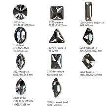 Cristal noir diamant K9 cousu sur miroir Strass Rivoli goutte carrée Strass cosmique bricolage robe conception vêtement accessoires