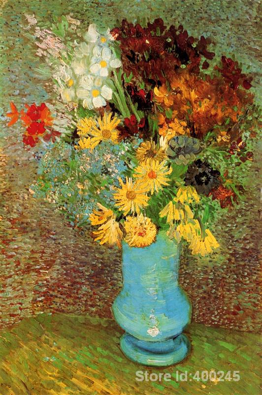 Best Art Reproduction Vase with Daisies and Anemones Vincent Van Gogh Painting for sale hand painted High quality