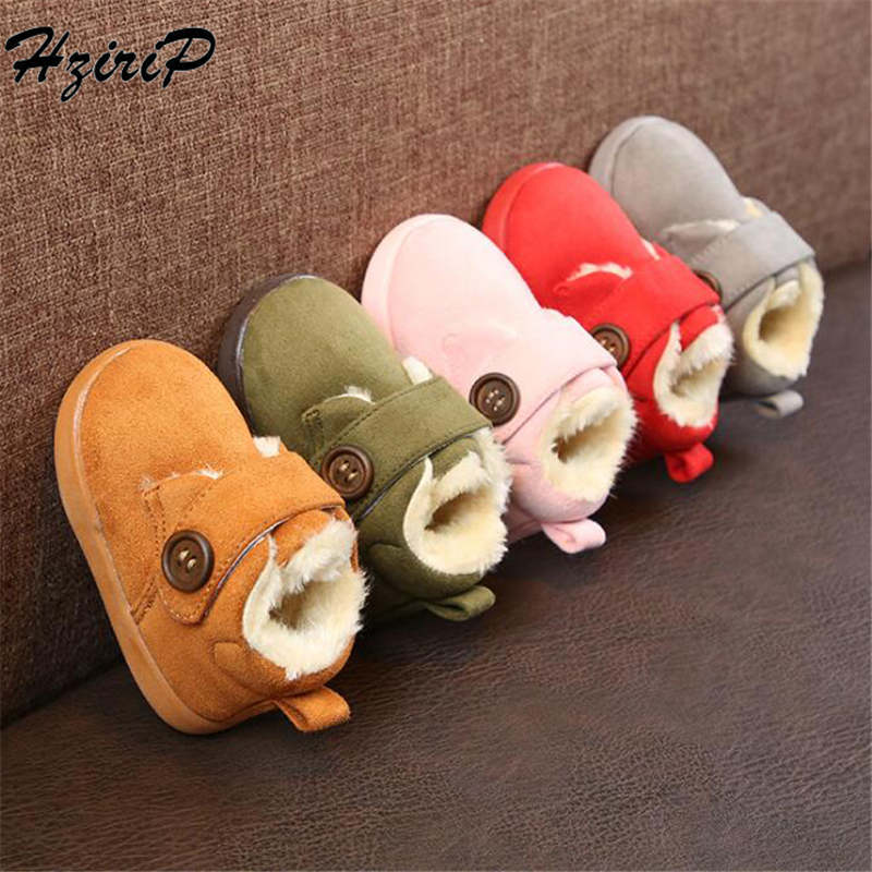 Hzirip Baby Shoes Girl Boy Winter Cute Solid Stylish Soft Buckle 0-1T 5-Colors Comfortable