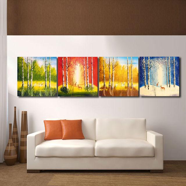 Stampe Parete Camera Da Letto : Quattro stagioni foresta paesaggio gru e cervi pittura hd