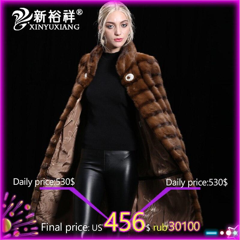 XINYUXIANG Женская норковая шуба зимняя натуральная норковая меховая одежда 2018 Толстая длинная теплая меховая куртка женская настраиваемая