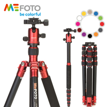 MeFOTO A1350Q1 Metallic Colors Carbon Fiber Tripod For Camera Travel Monopod Tripods Dslr Extendable Up to 61.6 Tripode