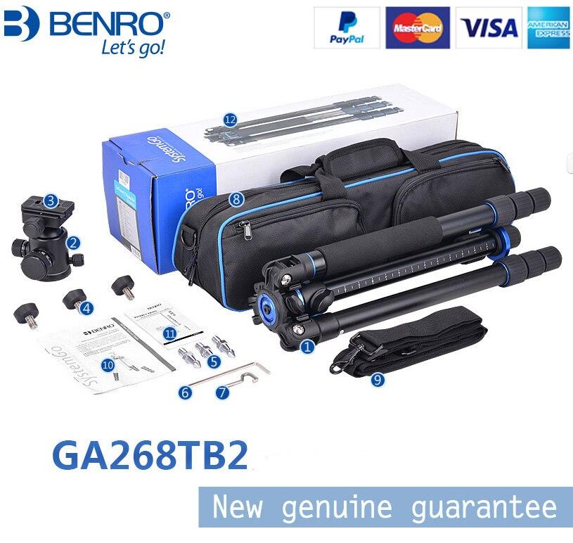 Benro GA268TB2 Aluminum Flexible Tripod Kit Portable Digital Camera Tripe Ball Video Head Stable Camera Stand