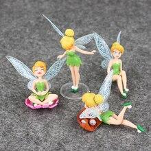 4 pièces/lot princesse Figure jouets fée clochette elfe ensemble pour enfants cadeaux danniversaire