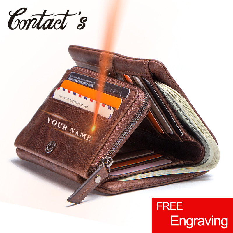 Contact's 100% Genuine Cow Leather Wallet Men Coin Purse Man Portemonnee Small Wallets Zipper Vintage Money Bag Tirfold Design