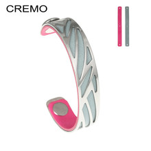 Cremo Ribbon Bracelets Bangles Argent Stainless Steel Bracelet Opening Arm Cuff Bangle Manchette Femme Leather Belt Pulseira(China)