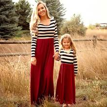 Mother daughter dresse Family Matching clothes Striped Long sleeve Patchwork Mom and daughter dress Family look