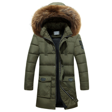 2017 Winter Pure Coloration Style Informal Male Lengthy Thick Cotton-padded Jacket / Man's Fur Collar Hooded Parkas Down Jacket Coat