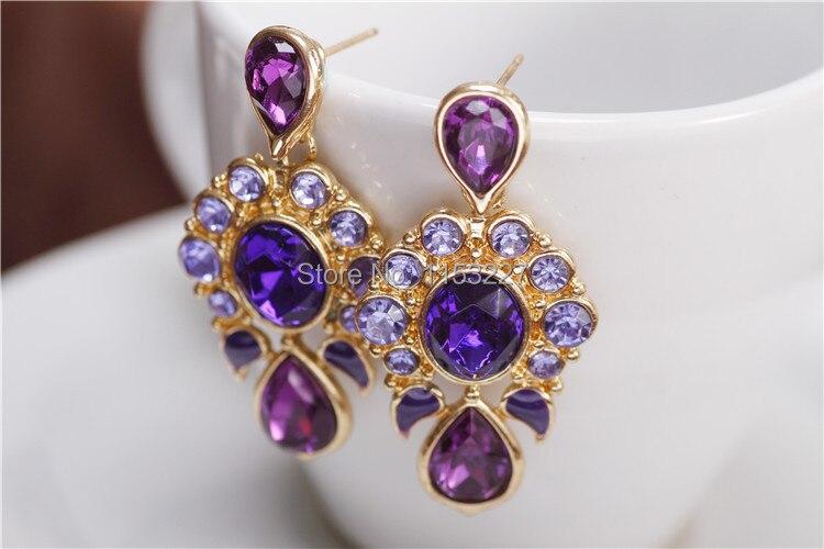free shipping purple water drop crystal earring free