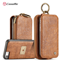 Newest For IPhone 7 7 Plus Brieftasche Retro Leather Phone Fold Metal Ring Car Flip Holder