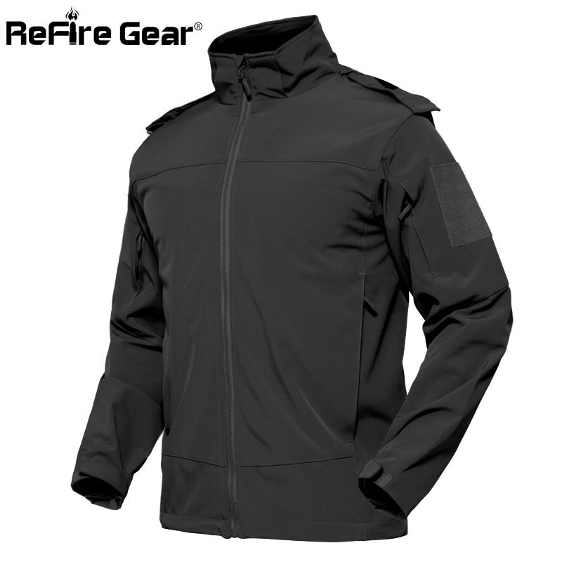 ReFire Gear Urban ยุทธวิธีกันน้ำแจ็คเก็ตชายฤดูใบไม้ร่วง Windproof Softshell Hoodie เสื้อกันหนาว SWAT Secret เสื้อทหาร-ใน แจ็กเก็ต จาก เสื้อผ้าผู้ชาย บน   2