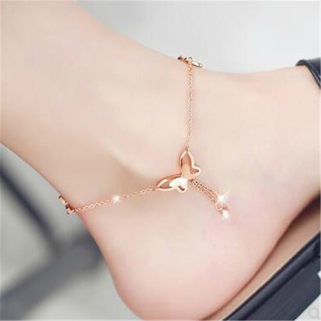 2019 Butterfly Anklet Pendant Tassel Rhinestone Ankle Bracelet Beach Foot Chain For Women Girl Charms Barefoot Sandals Jewelry 1