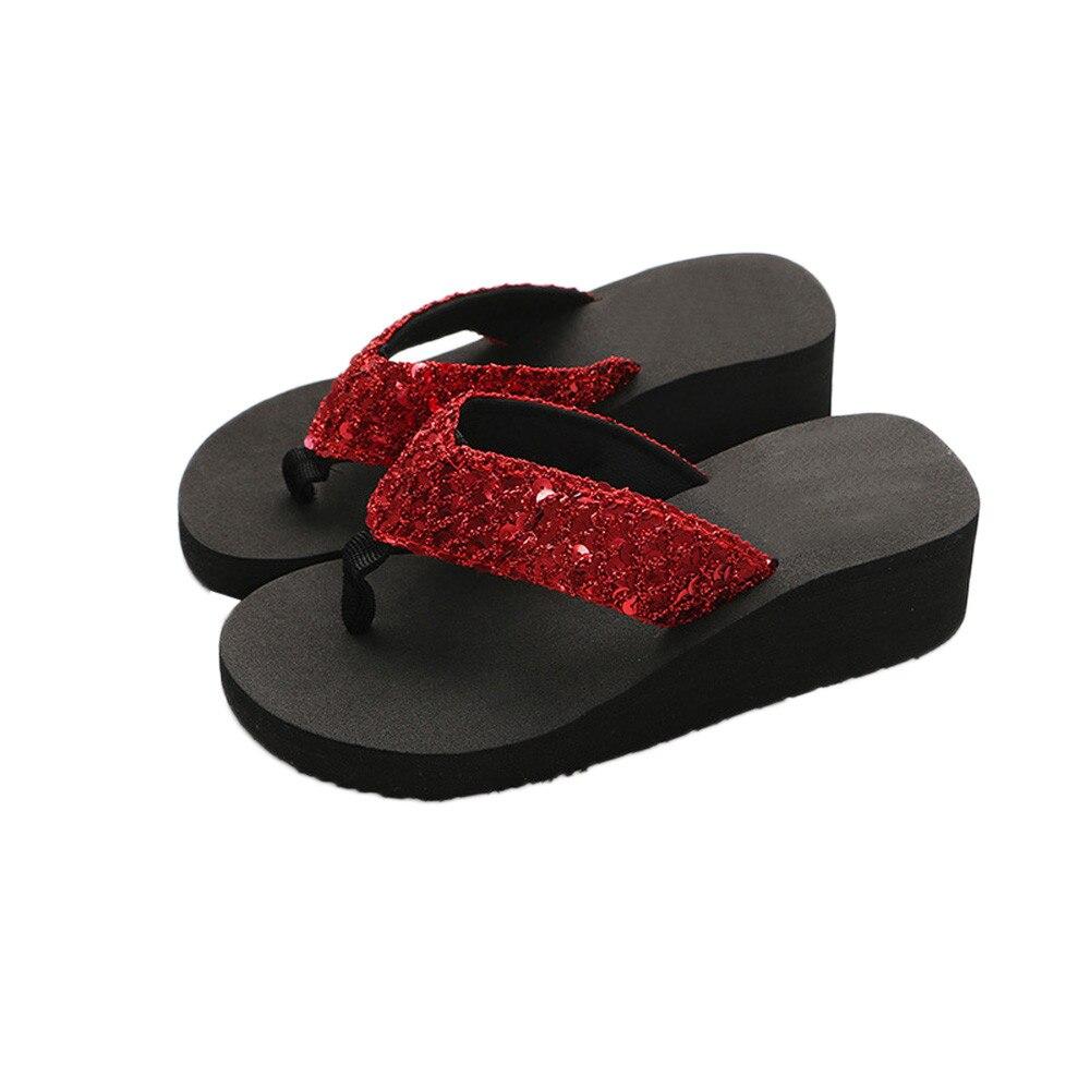 HTB1yWi3cMaH3KVjSZFjq6AFWpXaz Summer Women Flip Flops Casual Sequins Anti-Slip slippers Beach Flip Flat Sandals Beach Open Toe Shoes For Ladies Shoes #L5