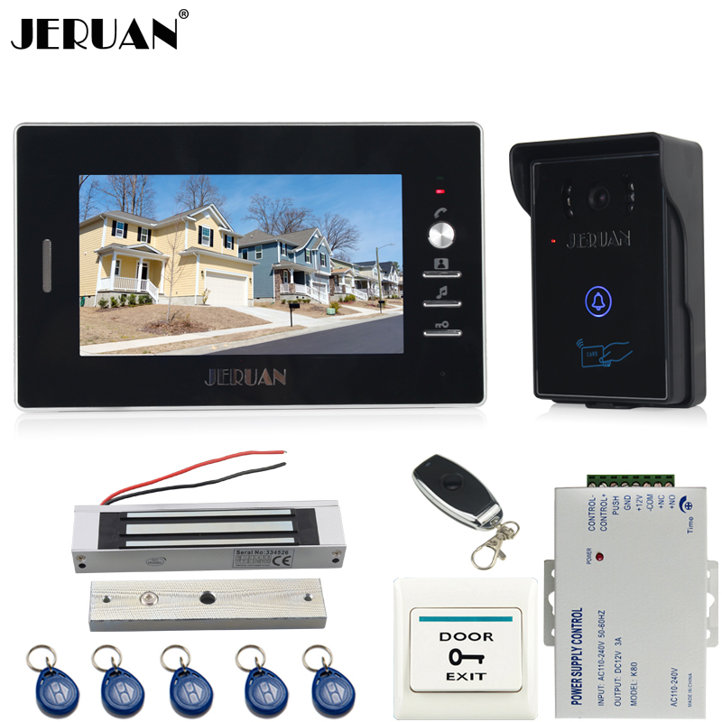 JERUAN 7 inch color screen video door phone intercom system kit RFID touch key waterproof Camera 180KG Magnetic lock In stock rfid keyboard ip65 waterproof video doorphone intercom system for 3 apartments with 7 color lcd video intercom system in stock