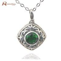 Groothandel 925 sterling zilveren sieraden vrouwen hanger bruiloft accessoires gift groene steen oostenrijkse kristallen hanger ketting