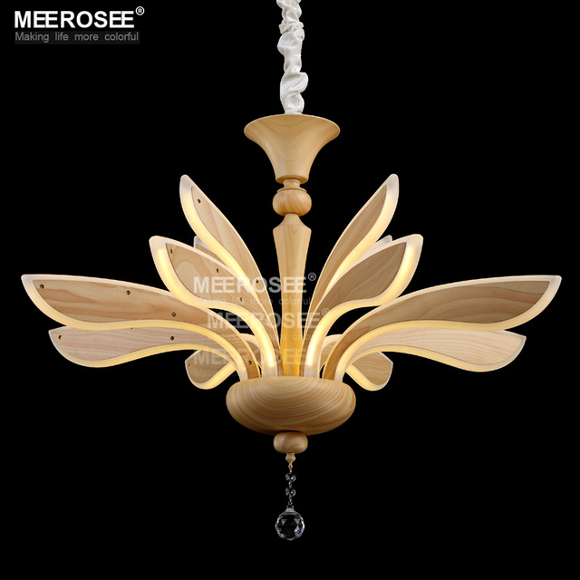 New Desigan LED Chandelier Light Fitting Lustre Creative Wooden Color Lamps Acrylic Art Hanging Lighting Fixture