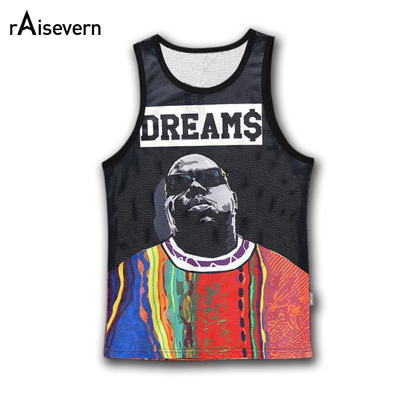 Raisevern men/women's   Tank     Top   DREAMS Print Vest Street Hip Hop BIGGIE   Tank     Tops   Women Fitness Summer Clothing Casual Tee