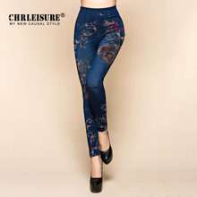 Women Jeans Leggings Autumn Flowers Printed Slim Cotton Woman Jeggings Ladies Fake Jeans Trousers Leggings Legency