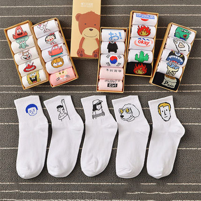Cartoon Men&Women Funny Patterned Women Set Cotton Socks Harajuku Hipster 5 Pairs Free Shipping Cheap Ankle Socks Female Sox
