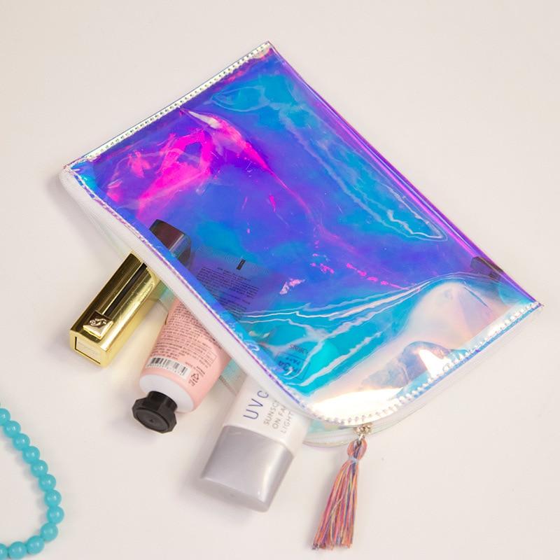 Mujer borlas Bolsas Holograma Transparente bolso de Noche Bolso de Embragues Del