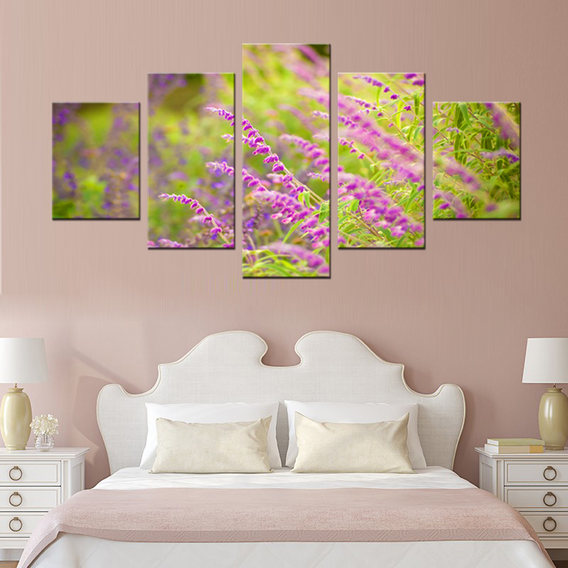 5 panel garden garden mural art home decoration living room canvas print modern painting XL FJ318 1 in Painting Calligraphy from Home Garden