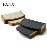 FANXI 2 Pieces /set Wooden bracelet bangle Pendant Ring display stand with microfiber multifunctional jewelry Holder Showcase