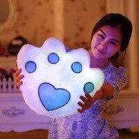 1pc New Hot Sale Colorful LED Luminous Music Bear Paw Plush Pillow Soft Cushion Kids Toys