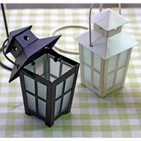 Vintage Wedding Candle Lanterns Glass Cover Craft Cube Candle Holder Articles White Black Iron Candlestick Hanging
