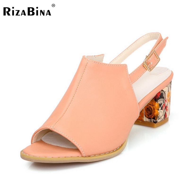 RizaBina women peep toe high heel sandals back strap party gladiator ladies heeled footwear heels shoes size33-43 PD00058 цены онлайн