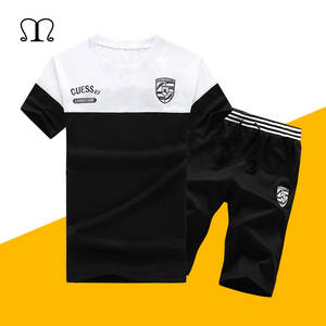 Summer Men Sets 2019 New Fashion Spring Sporting Suit Short Sleeve Tops Tee+ Shorts Mens Clothing 2 Pieces Sets Slim Tracksuits