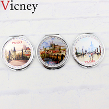 Vicney New arrival Double-sided Hand Mirror Makeup Small Fresh Natural Pocket Compact Folded Portable Beauty Tool