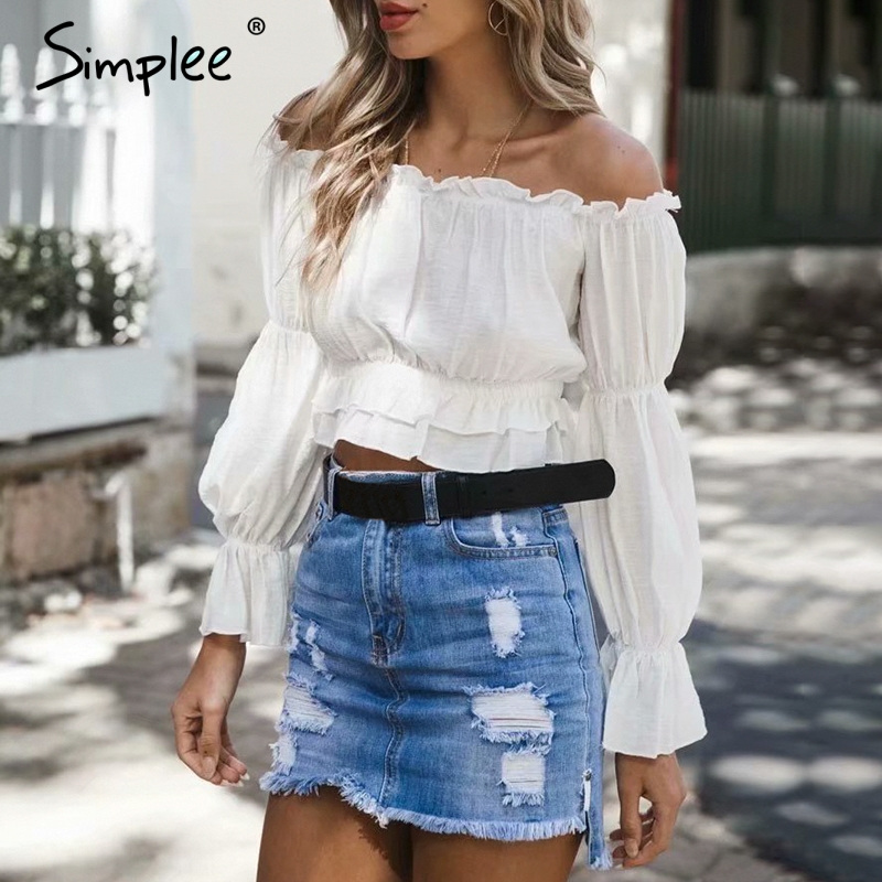 Simplee Elegant off shoulder women   blouse     shirt   Ruffle flare sleeve white crop top Spring summer pullover cotton female top 2019