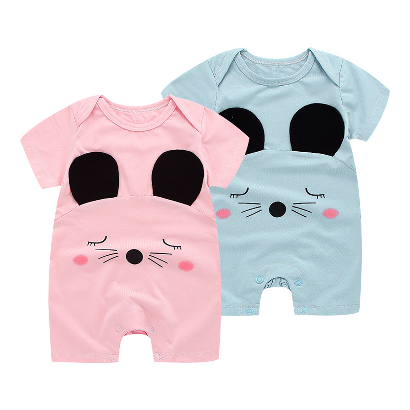 Cotton Climbing Suit Short Sleeve Shorts Cartoon Character Cute Mouse Baby Onepiece babys romper Jumpesuit 000116