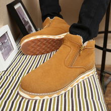 2016 Fashionable Winter Sheepskin Men s Boots Plus Velvet Warm Waterproof Boots Shoes Martin Boots Snow