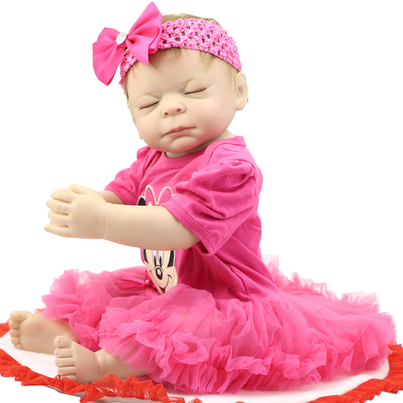 Handmade 20 Inch Sleeping Reborn Baby Dolls Full Silicone Vinyl Newborn Princess Girl Babies With Dress Kids Birthday Xmas Gift