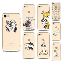 Smart Lovely Dogs Mobile Phone Cover Cases for iphone 6 6s 6Plus 7 7s 7plus Soft Slim TPU Cute Phone Cases(China)