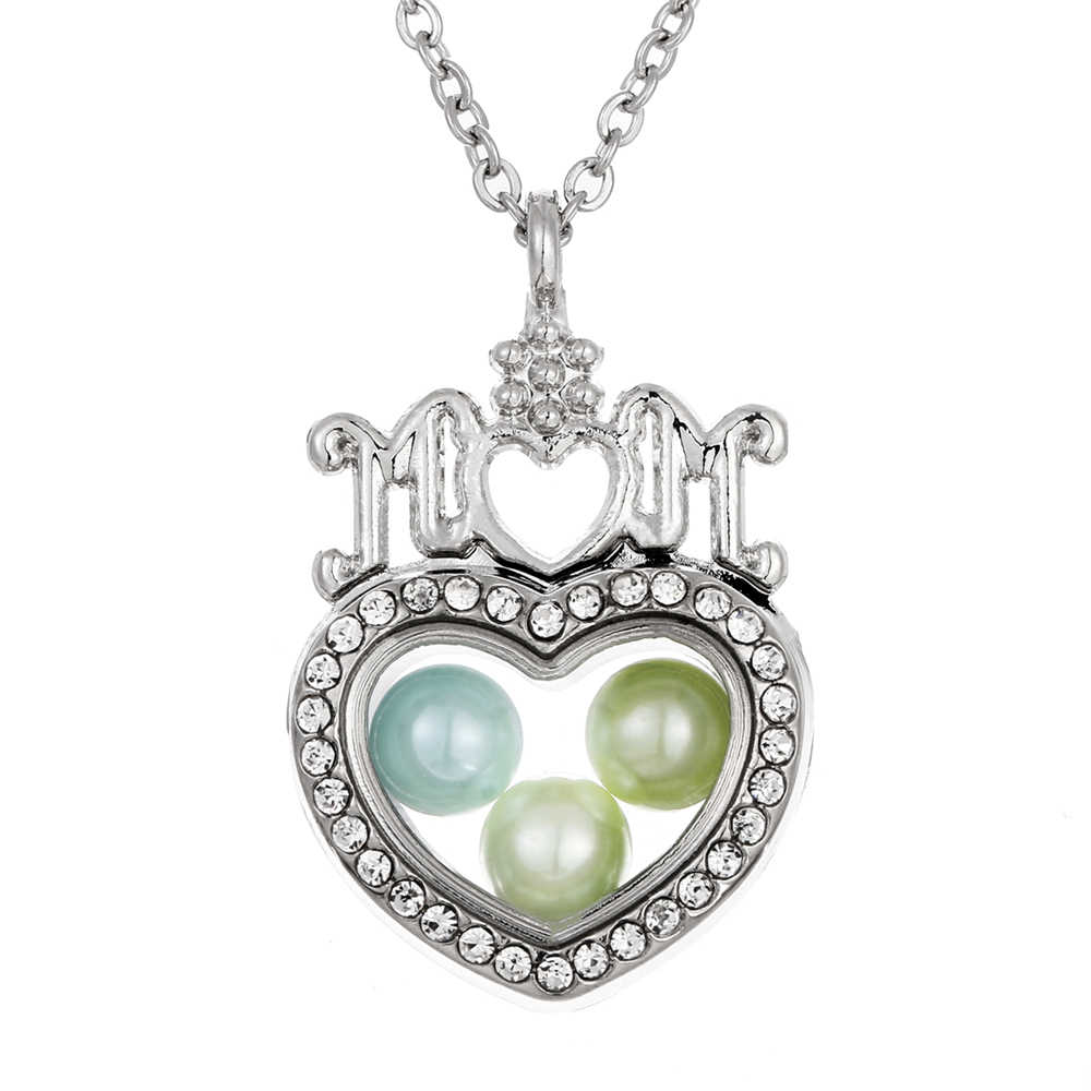 Silver MOM Heart Living Memory Diameter 8mm Beads Pearl Cage Glass Magnetic Floating Locket Pendant Rhinestone Necklace Gift