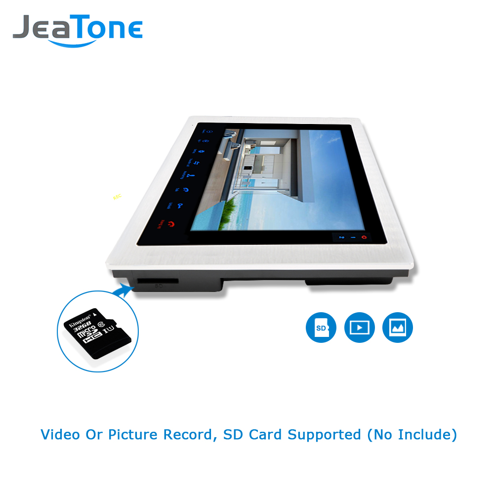 """Image 2 - JeaTone 10"""" 4 wired Door Phone Video Intercom Video doorbell monitor Intercom + Extra 1200TVL Security Camera Waterproof System-in Video Intercom from Security & Protection"""