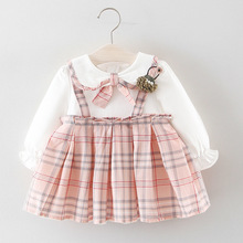 Girls dress 2019 Spring and Autumn  Baby Lattice Princess Dress girl cute clothes