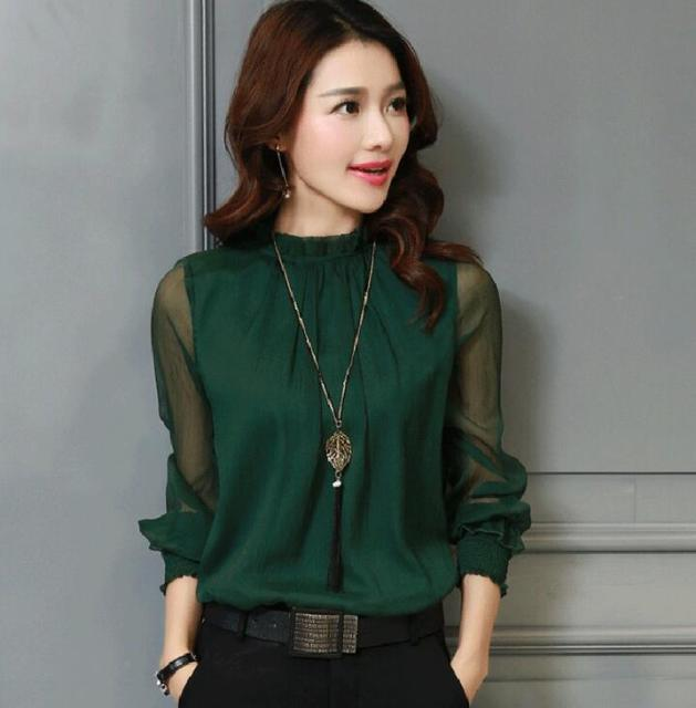Chiffon Long Sleeve Solid Color Blouse 3