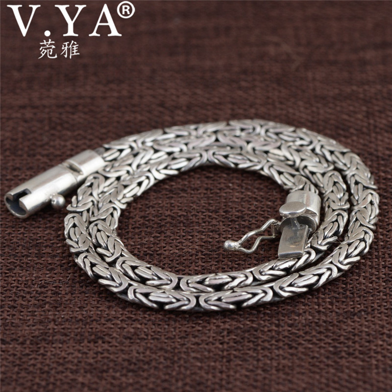 V YA Heavy Chain Necklaces Solid 925 Sterling Silver Men Necklace Punk Style Thai Silver Link