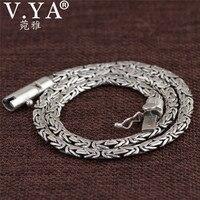 V. YA Pesados Collares de Cadena Sólido Plata Esterlina 925 Hombres Collar Punky estilo Tailandés de Plata Enlace Collar 45 50 55 cm Joyería de Los Hombres
