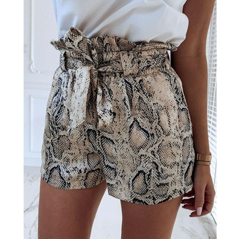 Snake Print High Waist   Shorts   Women Summer Autumn Paper Bag Sexy Elegant Fashion Lace Up Ruffle Mini Ladies   Shorts   Skirts W3