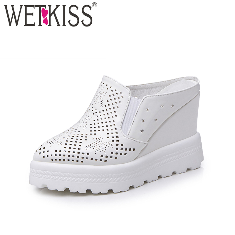 WETKISS 2019 Fashion Solid Slippers Pointed toe Hollow Polka Doa Mules Shoes Women High Wedges Flatform