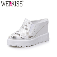 WETKISS 2018 Fashion Solid Slippers Pointed toe Hollow Polka Doa Mules Shoes Women High Wedges Flatform Summer Date Slides