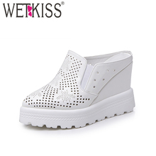 WETKISS 2017 Fashion Solid Slippers Pointed toe Hollow Polka Doa Mules Shoes Women High Wedges Flatform Summer Date Slides