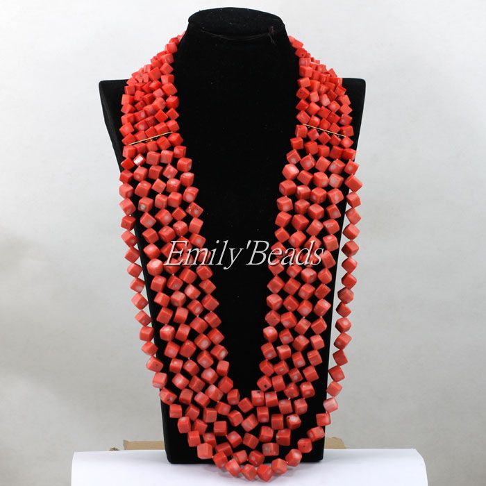 2016 Chunky Pink Coral Beads Necklace Square Shaped African Nigerian Wedding Bridal Beads Necklaces 32inches Free Shipping CJ675